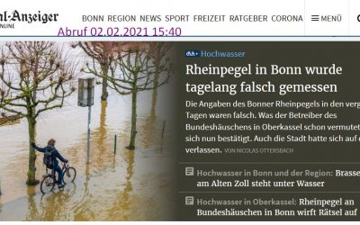 Falscher Rheinpegel inBonn