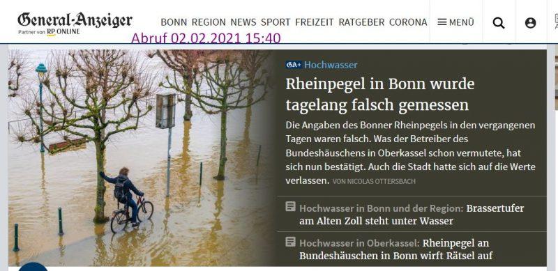 """Bonner Generalanzeiger vom 2.2.2021. Titel: """"Rheinpegel in Bonn wurde tagelang falsch gemessen"""""""